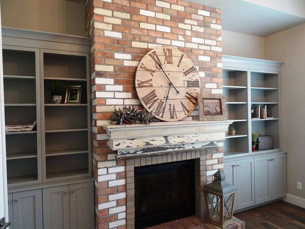Front Room with brick fireplace